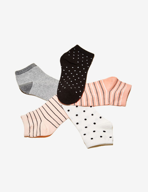 Pink, grey and black stripe and polka dot pattern socks