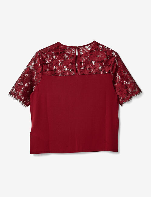 Burgundy mixed fabric blouse