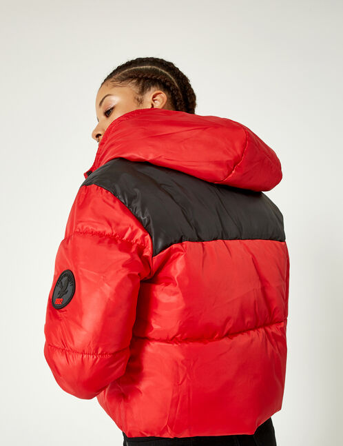 Red and black two-tone padded jacket
