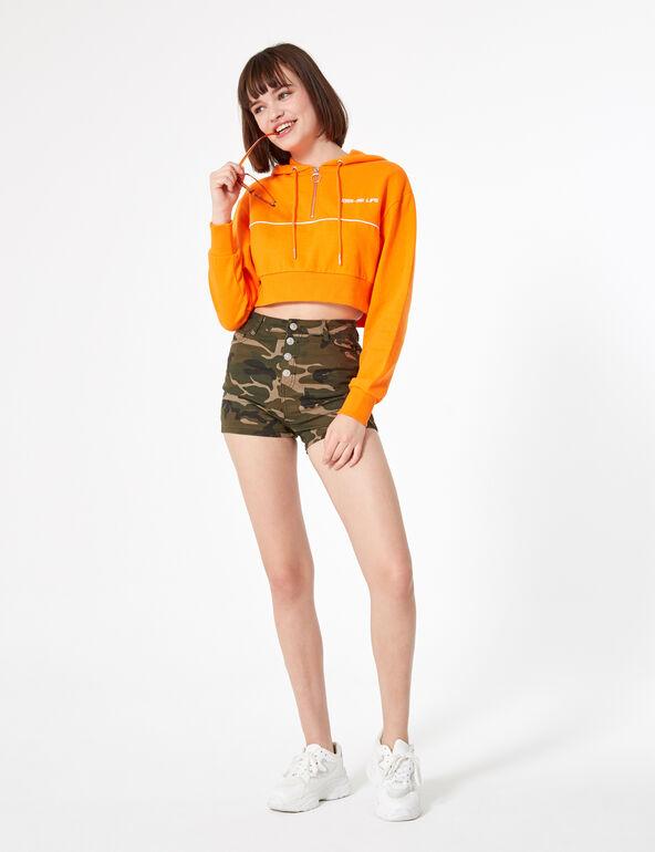 Sweat court zippé orange et blanc