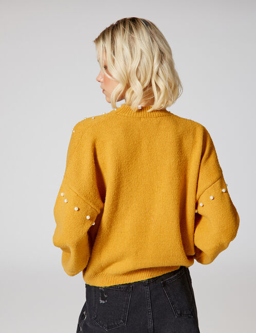 Ochre jumper with pearl detail