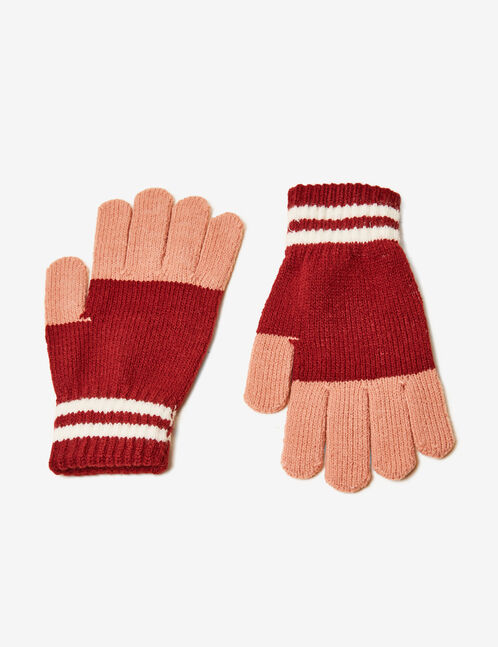 Burgundy, light pink and cream tricolour gloves