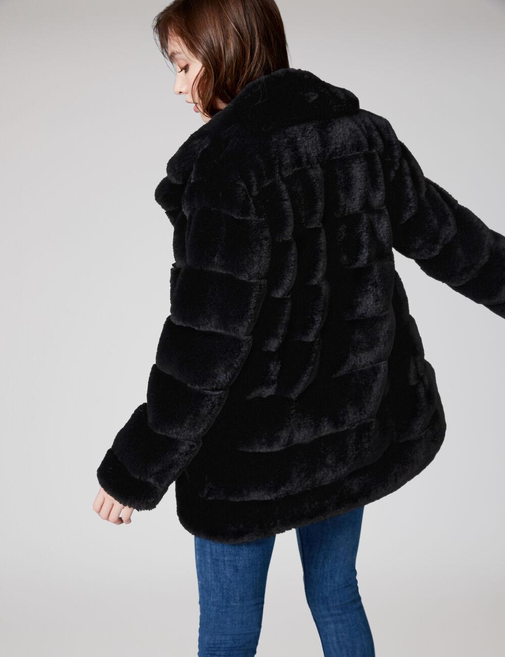 Veste longue imitation fourrure noire femme • Jennyfer 96f7ab6df19