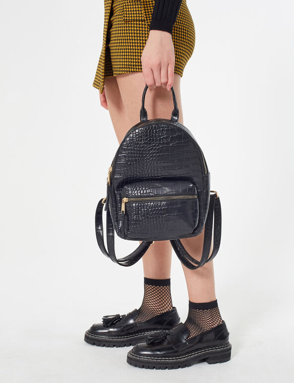 Faux snakeskin backpack