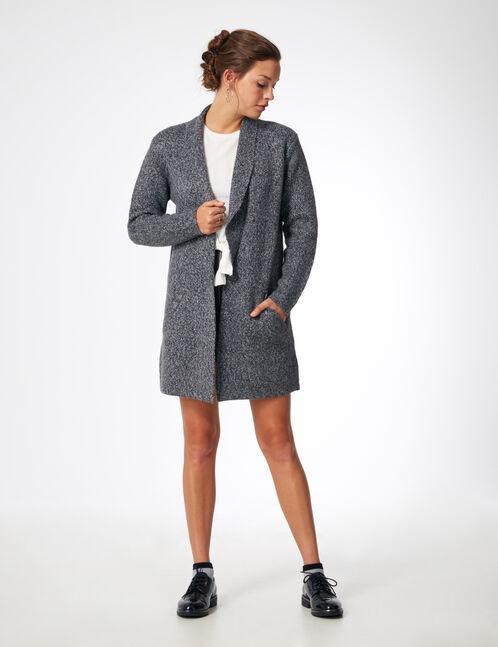 veste longue en laine gris anthracite