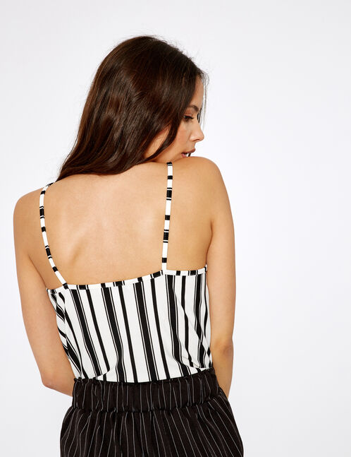 Black and cream striped camisole with lace detail