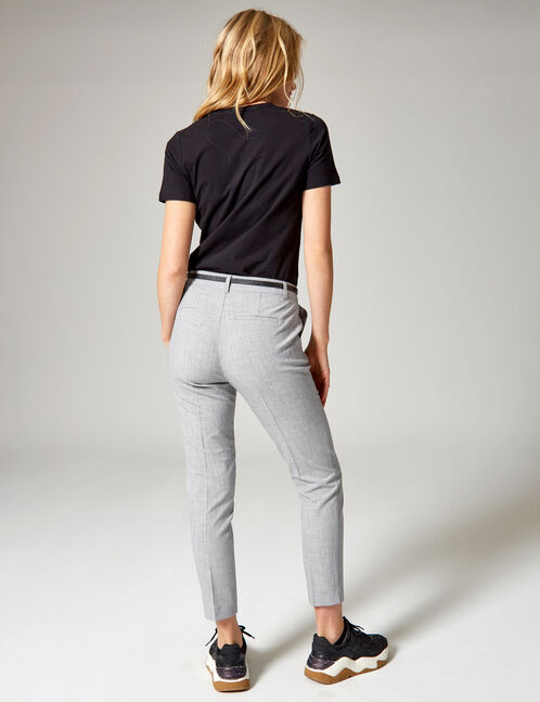 Grey marl tailored trousers with belt