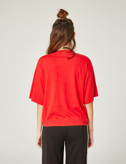 Red oversized printed T-shirt with message