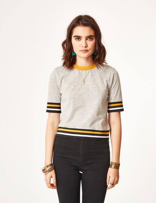 tee-shirt finitions rayées gris chiné