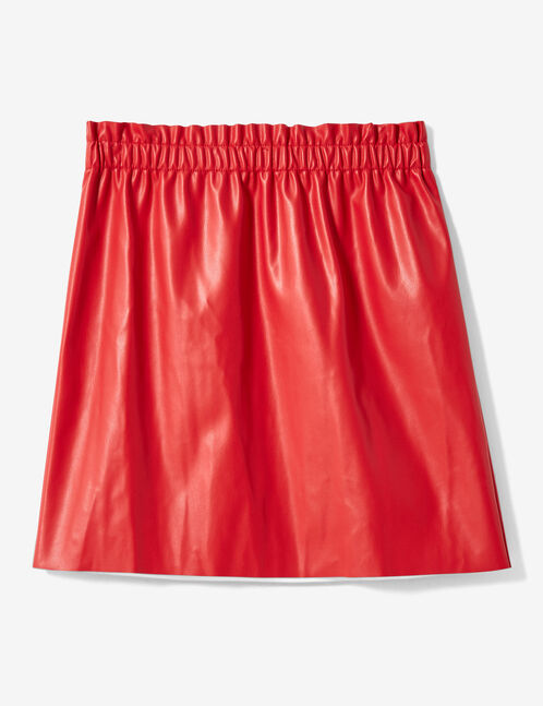 jupe avec fronces rouge