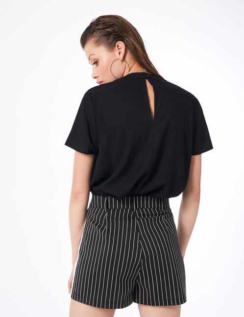 Black striped tailored shorts