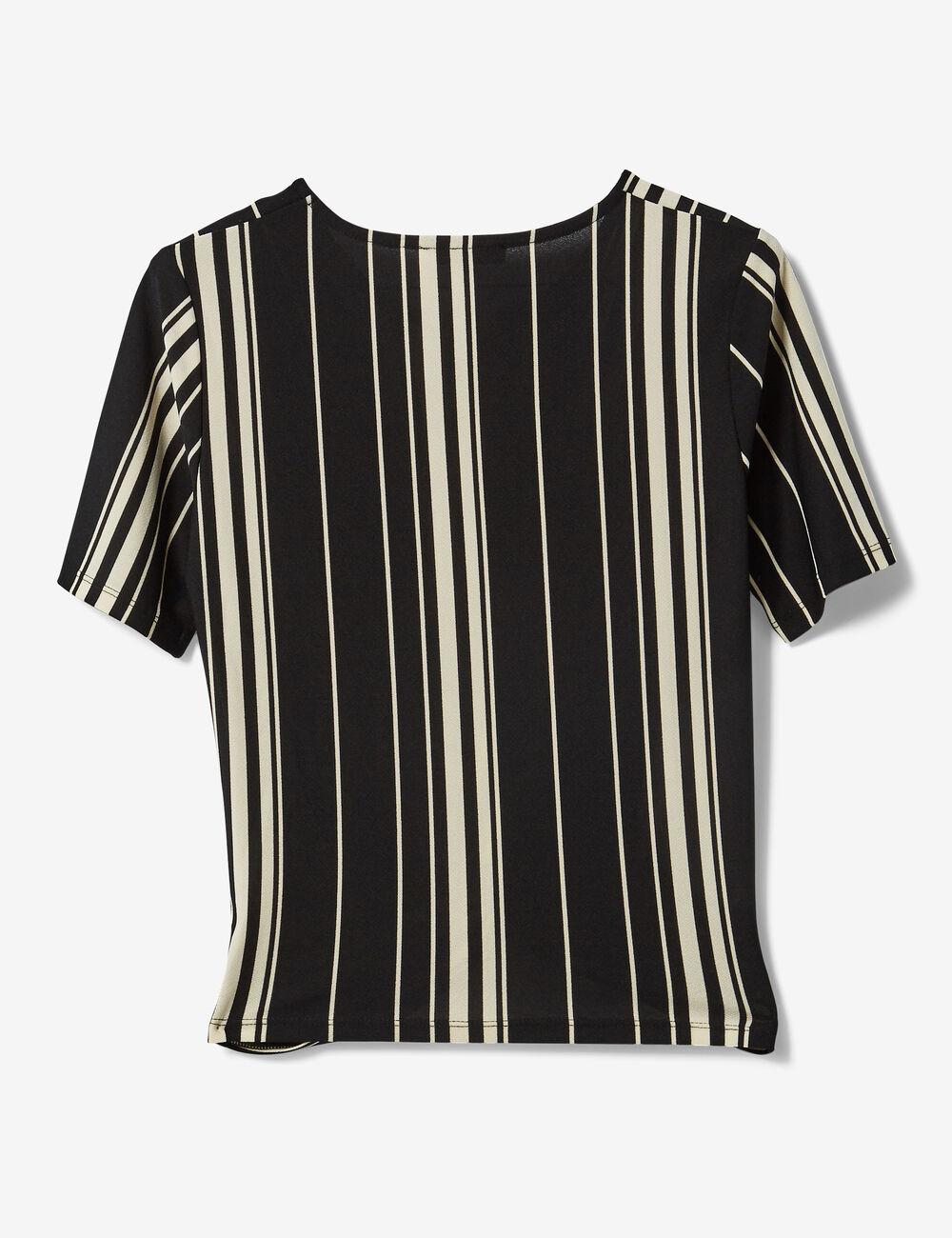 tee shirt ray effet noeud noir et blanc femme jennyfer. Black Bedroom Furniture Sets. Home Design Ideas