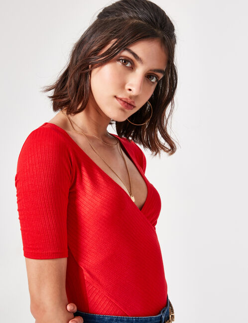 Red wrap top