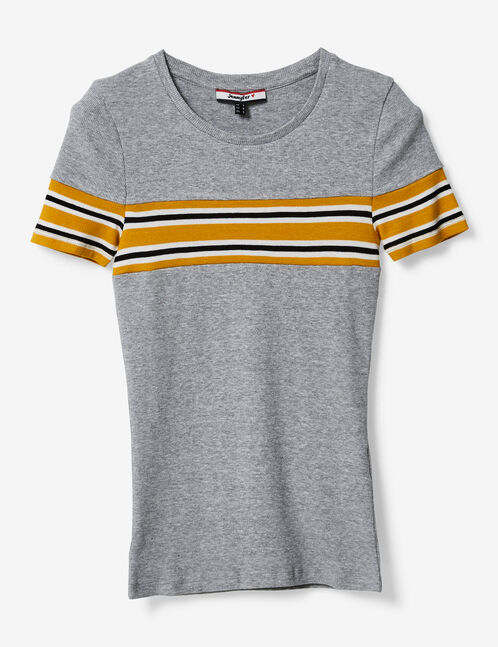 Grey marl T-shirt with stripe detail