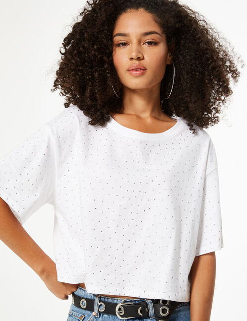 Tee-shirt court strass