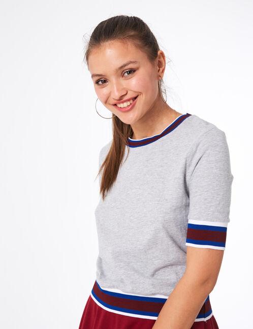 Grey marl T-shirt with striped trim detail