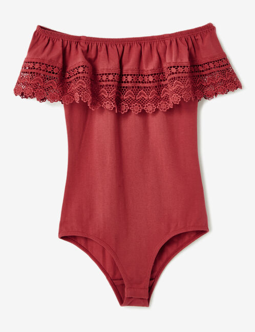 Burgundy bodysuit with lace detail