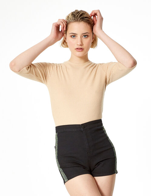 Black denim shorts with trim detail