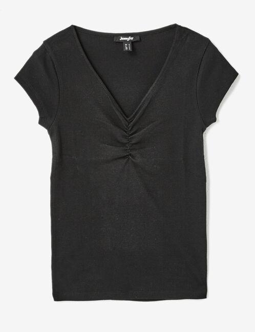 tee-shirt col v et fronces noir