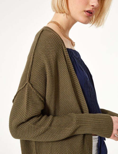 Khaki textured cardigan