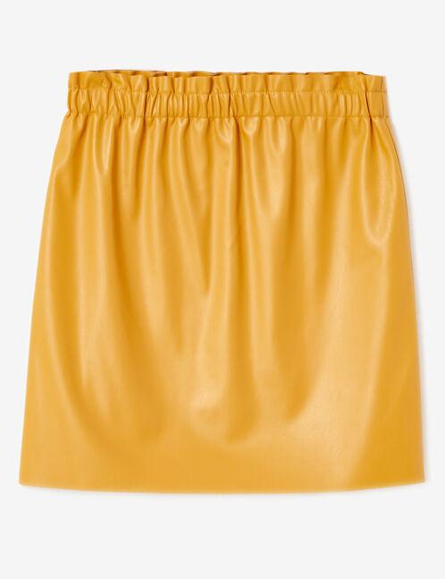 jupe simili avec fronces ocre