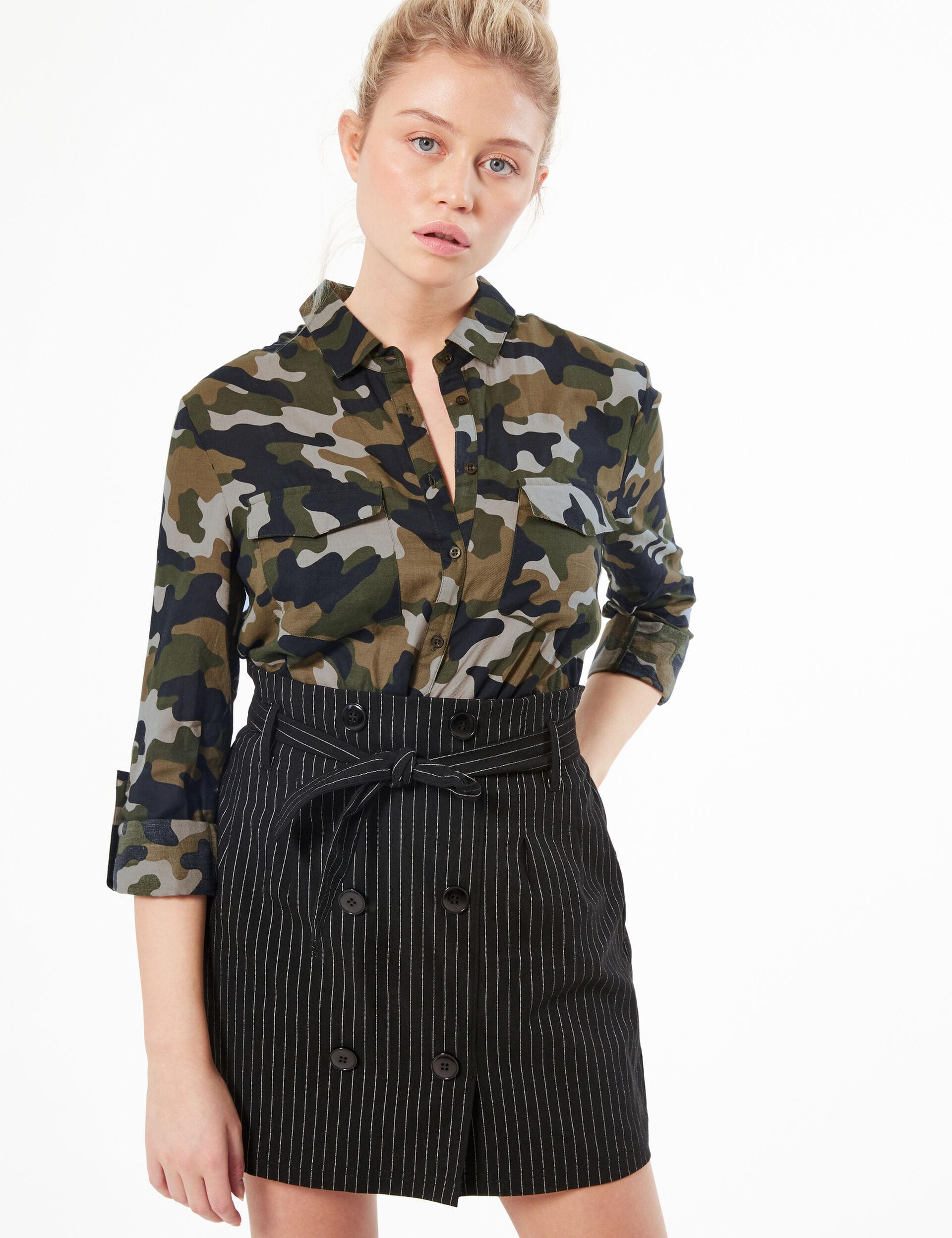 Tie-hem camouflage shirt