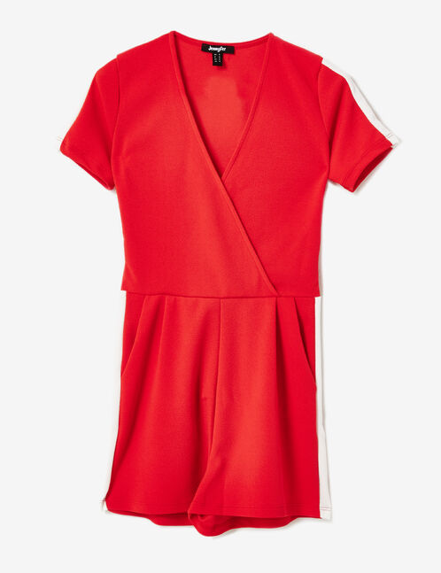 Red playsuit with white stripe detail