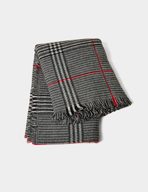 Black, white and red tartan scarf