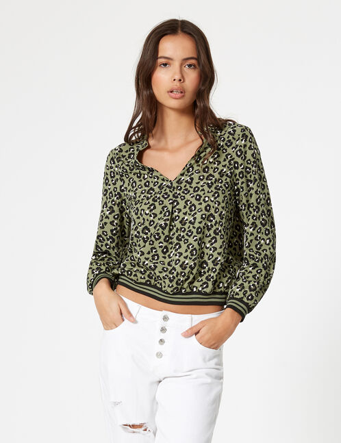 Khaki, black and white leopard print blouse