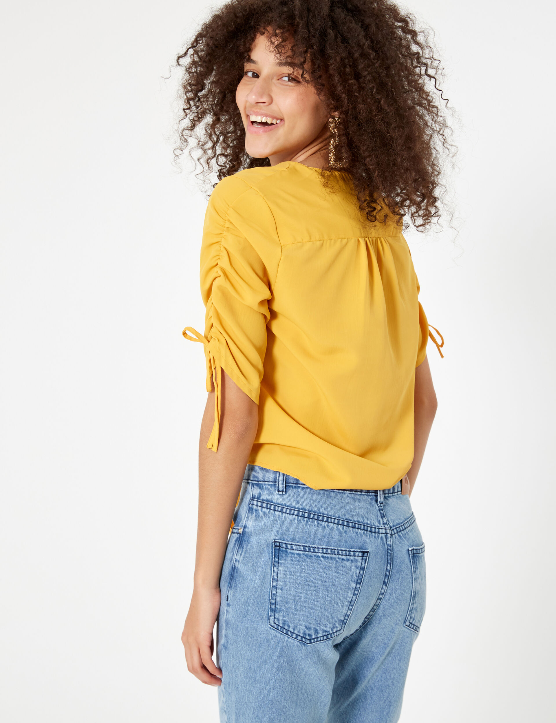 Ochre blouse with gathered sleeve detail