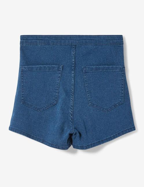Medium blue denim shorts with trim detail