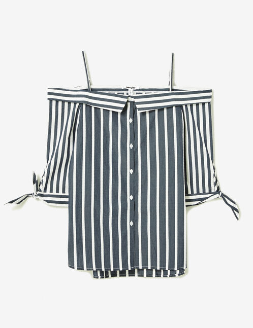 Navy blue and white off-the-shoulder shirt