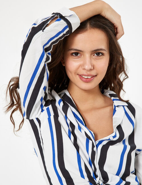 Blue, black and white striped tie-fastening shirt