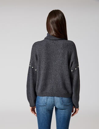 pull avec perles gris anthracite chiné pull avec perles gris anthracite  chiné eca858fe4da5