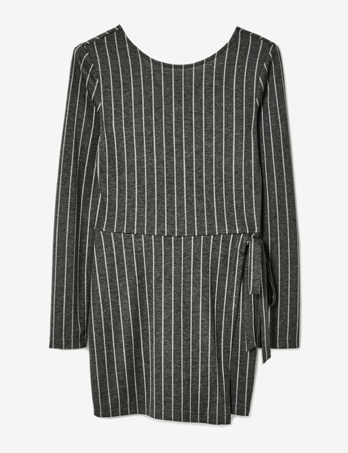 Charcoal grey striped playsuit