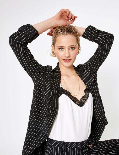 blouse avec dentelle blanc et noir