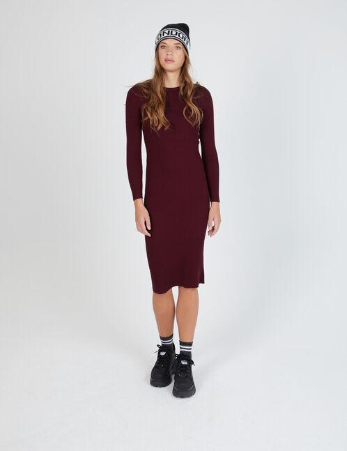 robe longue côtelée prune