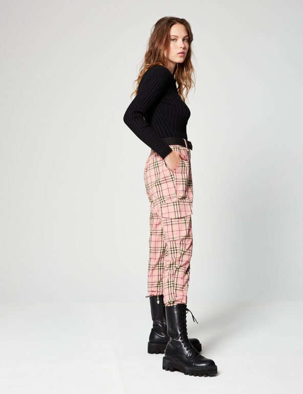 Checked cargo trousers