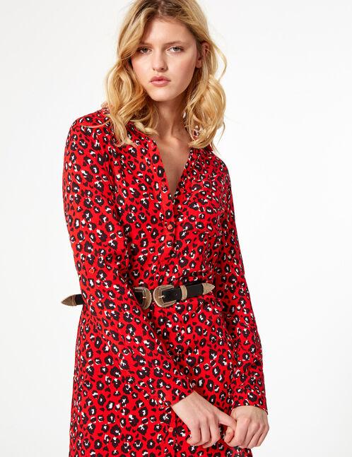 Red and black leopard print shirt dress