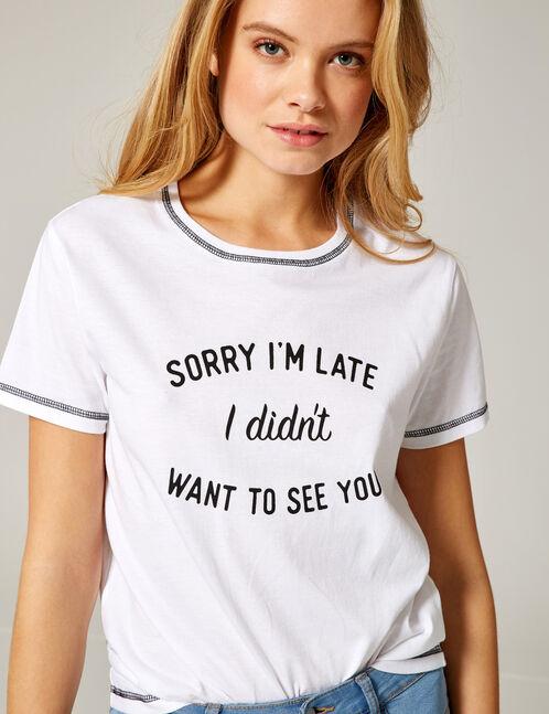 tee-shirt sorry I'm late blanc