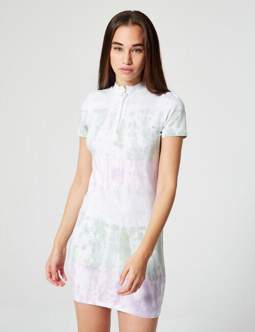 Zipped tie-dye dress