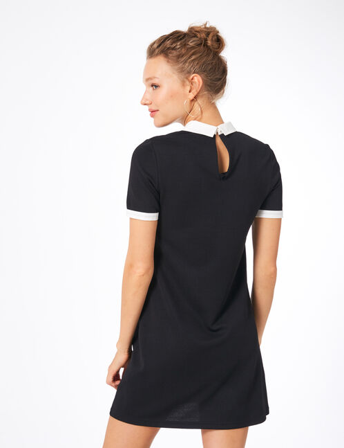Black dress with white collar detail