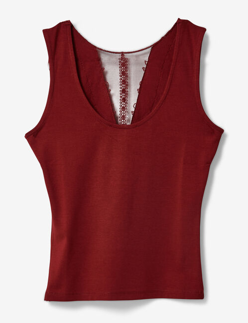 Burgundy tank top with lace panel detail