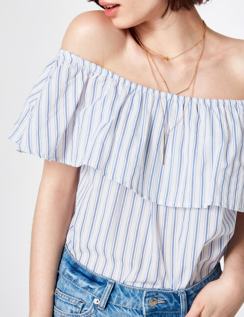 Cream and light blue striped bodysuit with frill detail