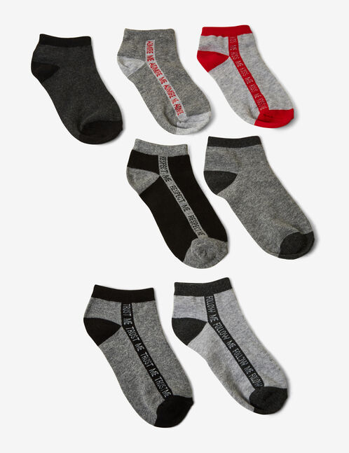Grey and red socks with text design detail