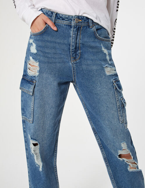 Ripped cargo jeans