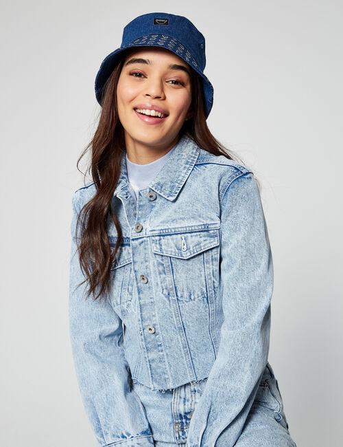 Smiley denim bucket hat
