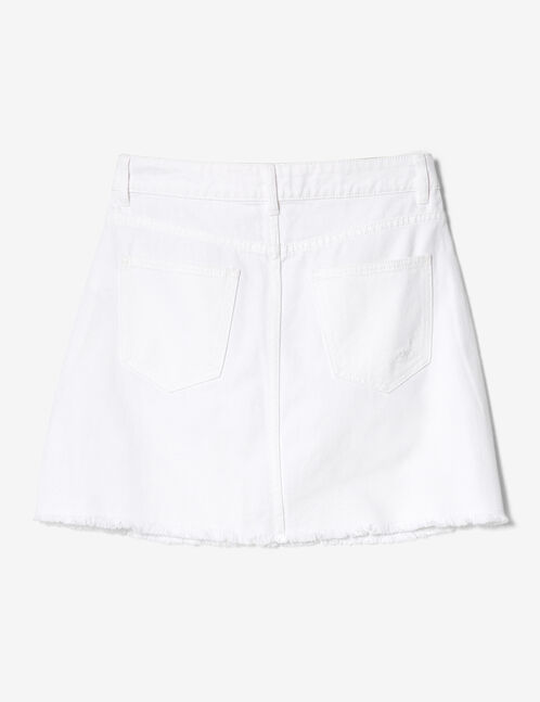 White zipped denim skirt