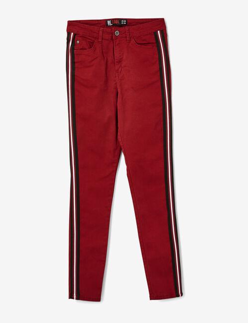 pantalon avec bandes rayées bordeaux