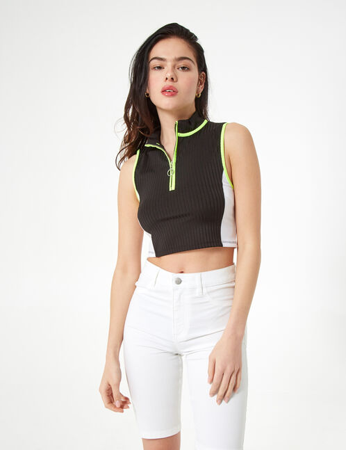 black, white and neon yellow zipped high neck top